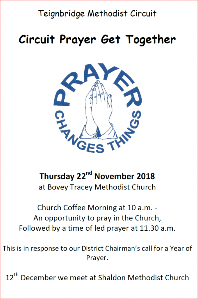 Circuit Prayer Get Together @ Bovey Tracey Methodist Church