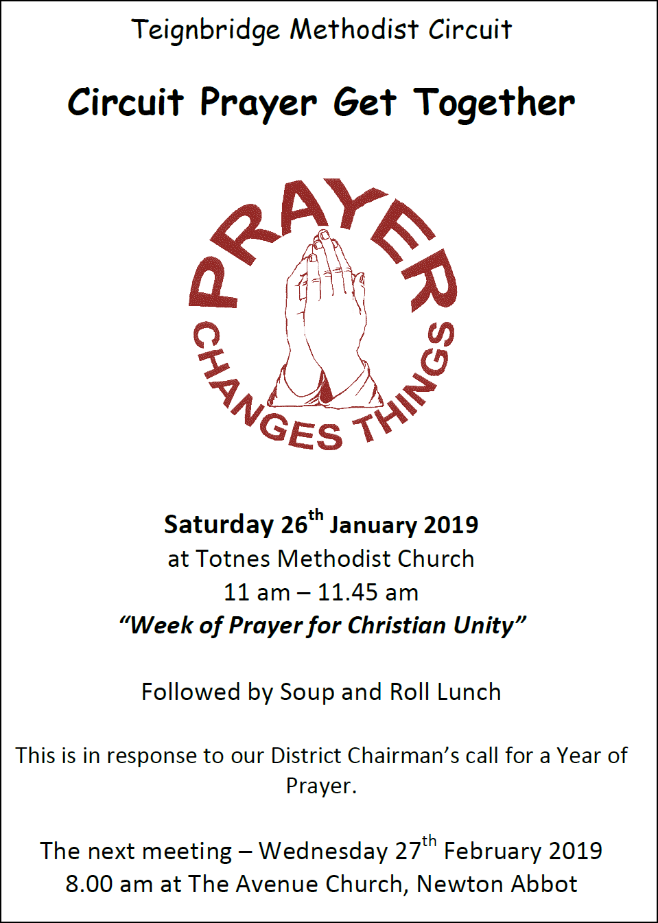 Circuit Prayer Get-Together @ Totnes Methodist Church