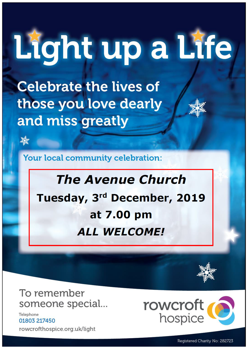 The Avenue Light-up-a-Life for Rowcroft @ The Avenue Church, Newton Abbot