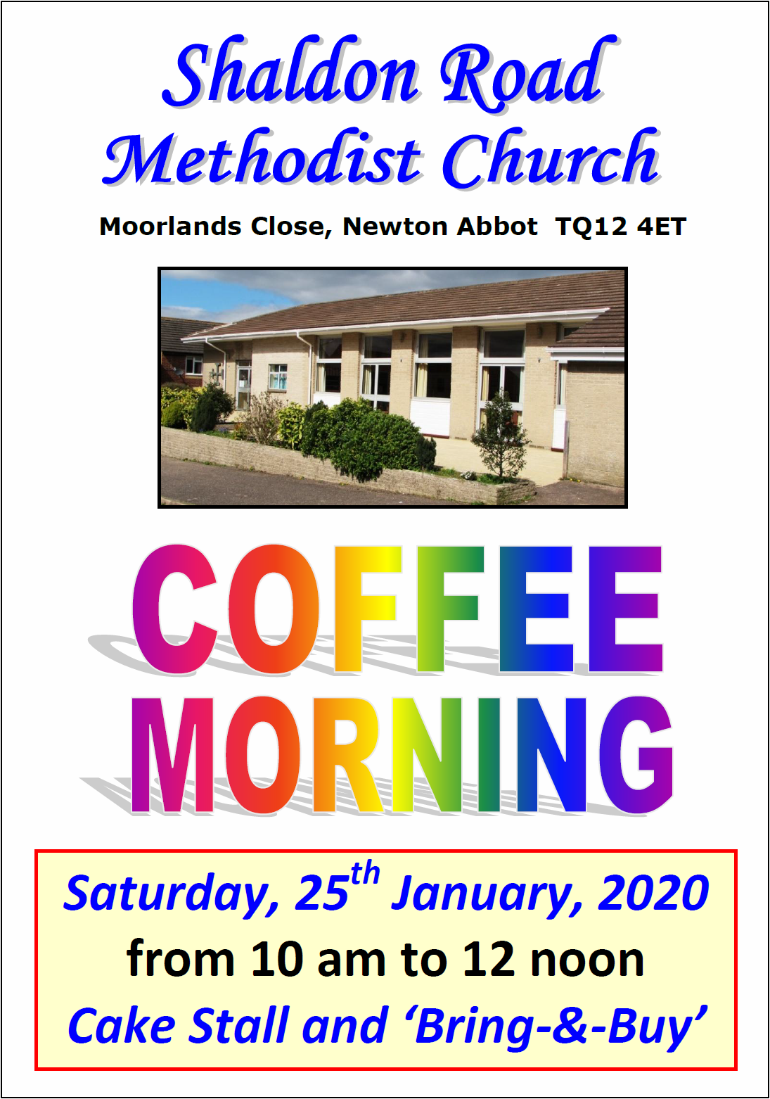 Shaldon Road MC Coffee Morning @ Shaldon Road Methodist Church