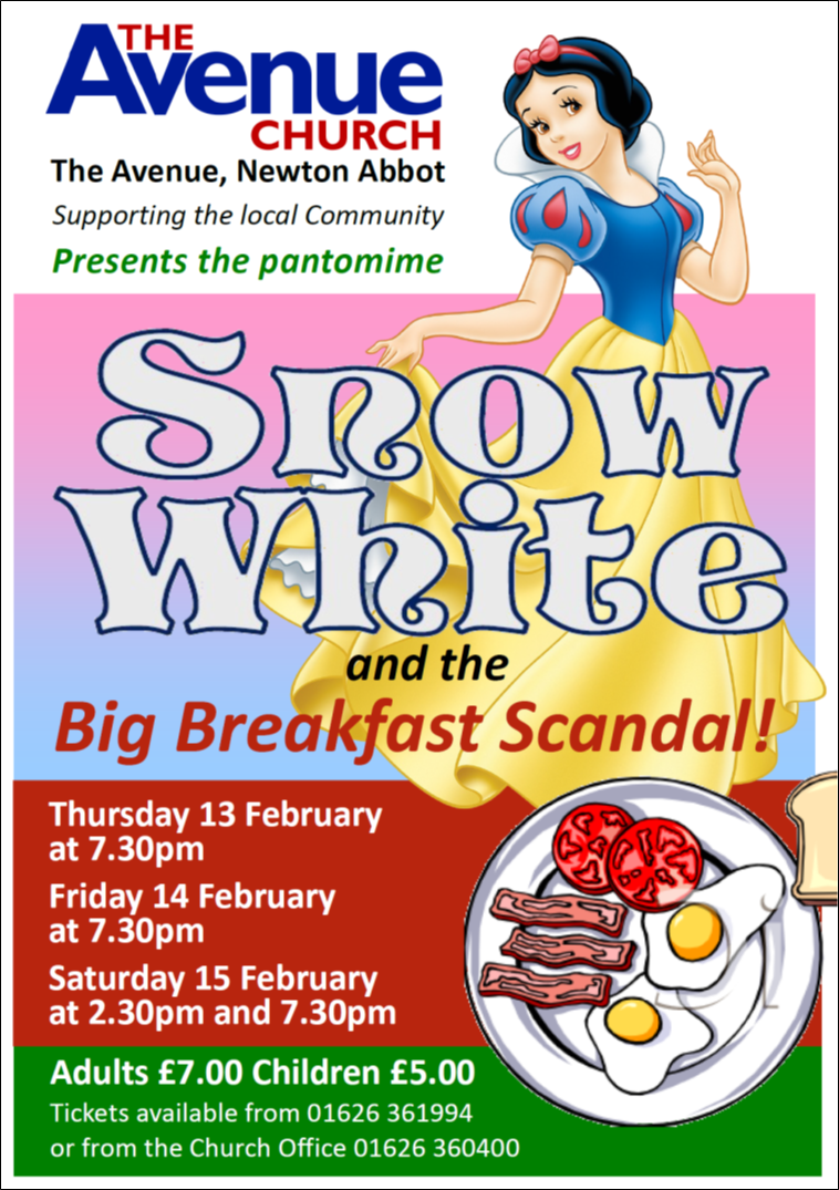 Snow White & Big Breakfast Scandal Pantomime @ The Avenue Church